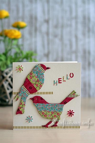 Card Craft Washi Tape Birds Greeting Card