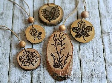 Stamping and Wood Burning on Wood Slices - Ornaments